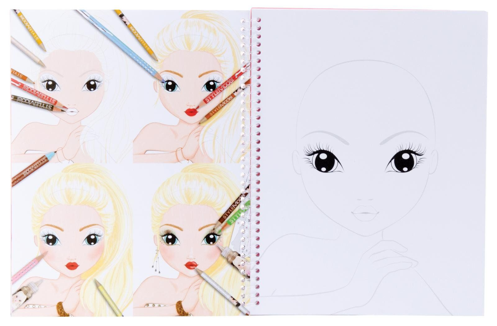 Topmodel 6921 create your make up malbuch spielzeug fashion coloring model - Top model a imprimer ...