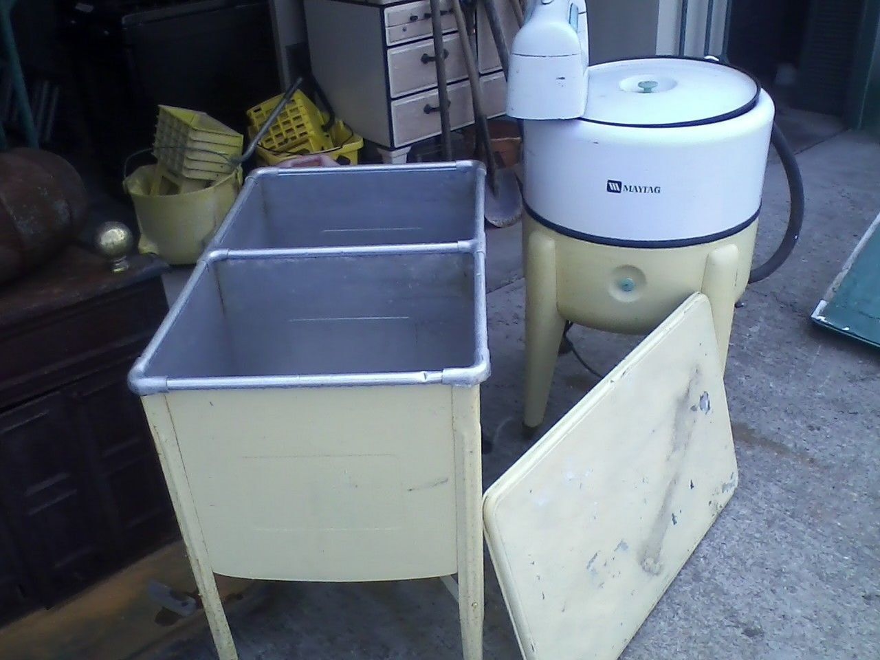 Galvanized Aluminum Double Wash Tub W Top Vintage Rare Ebay Wash Tubs Galvanized Wash Tub Tub