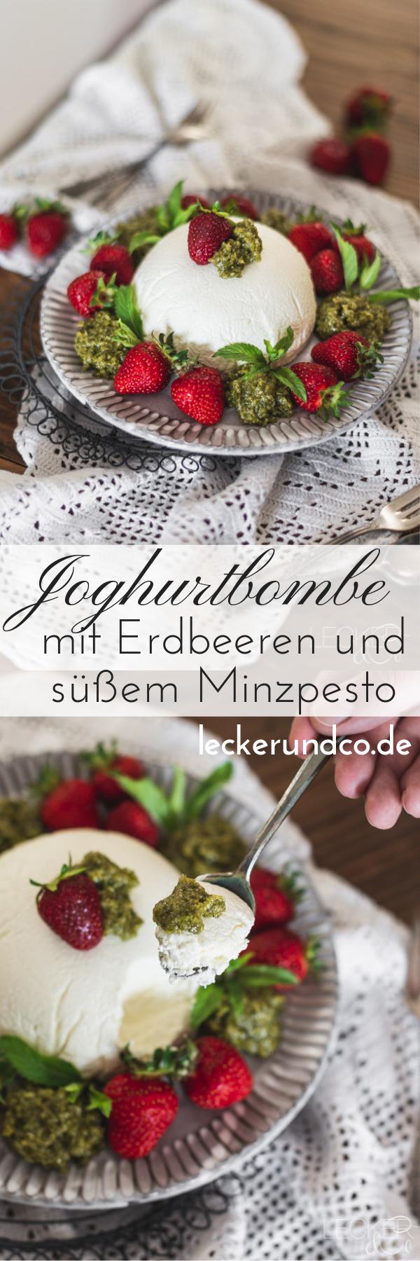 Photo of Yogurt bomb with strawberries and sweet mint pesto LECKER & Co | Food blog from Nuremberg