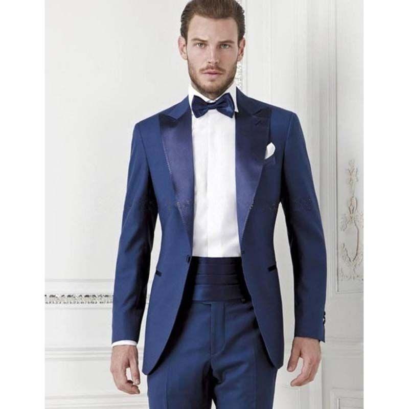 New Custom Made royal Blue groom men suit Tuxedos Mens costume homme ...
