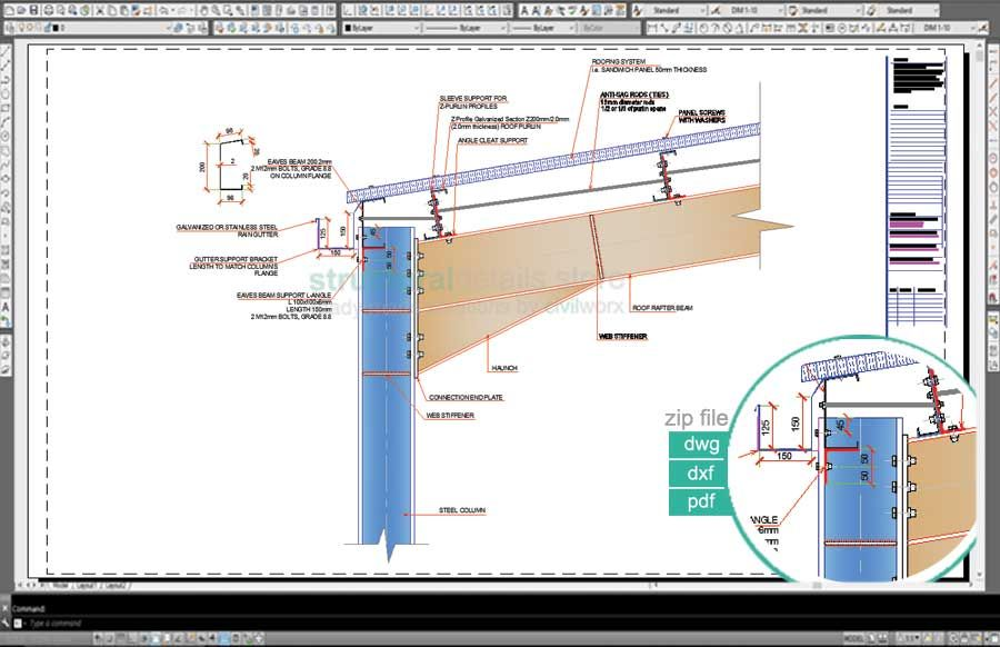 SR09-Steel Hangar Portal Frame Roof Eaves Beam Detail | My Steel ...