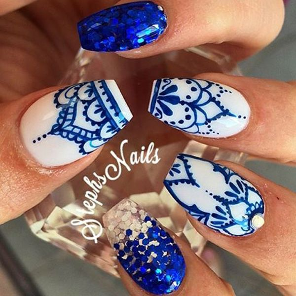 Feel and look royalty with these white and royal blue rhinestones and  glorious patterns. - 50 Coffin Nail Art Ideas Pinterest Royal Blue, Royalty And Royals