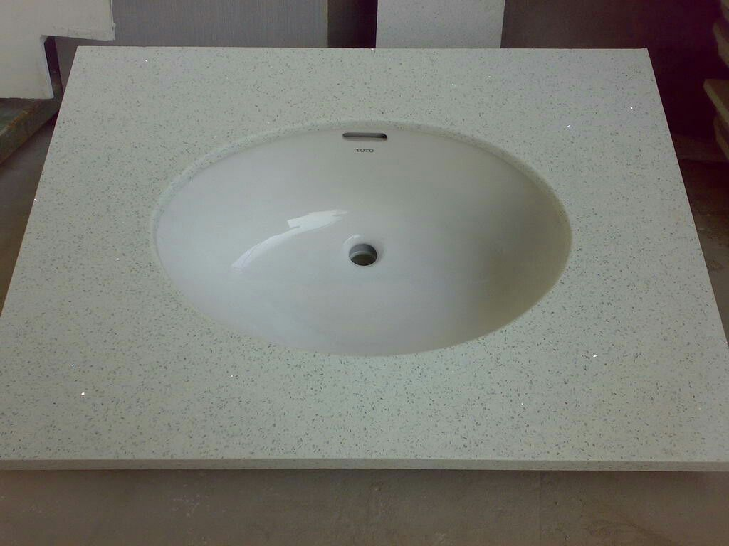 White Sparkle Engineered Quartz Vanity Top With Oval Sink
