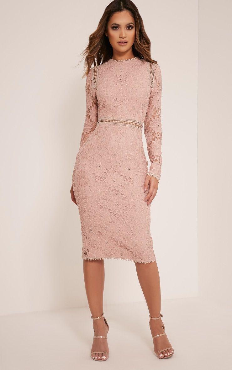 1319cdaf13d Caris Dusty Pink Long Sleeve Lace Bodycon Dress