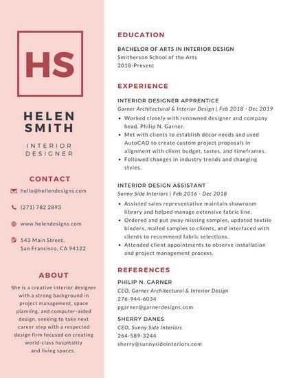 Simple Pink College Resume Design \ Marketing Pinterest - sample resume for photographer