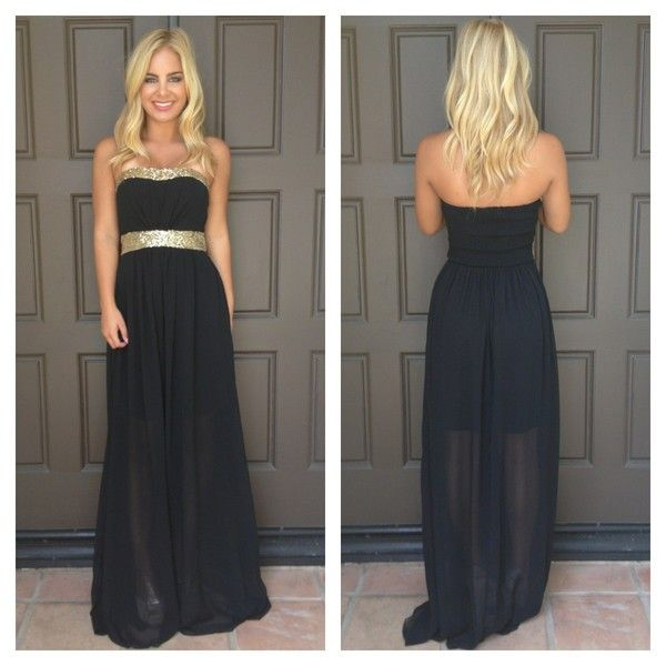 Black maxi dress with gold sequin trim #ustrendy www.ustrendy.com ...