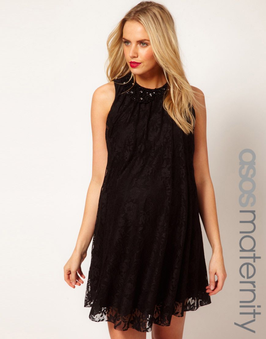Breastfeeding dresses for weddings  ASOS Maternity Swing Dress In Lace With Embellished Collar