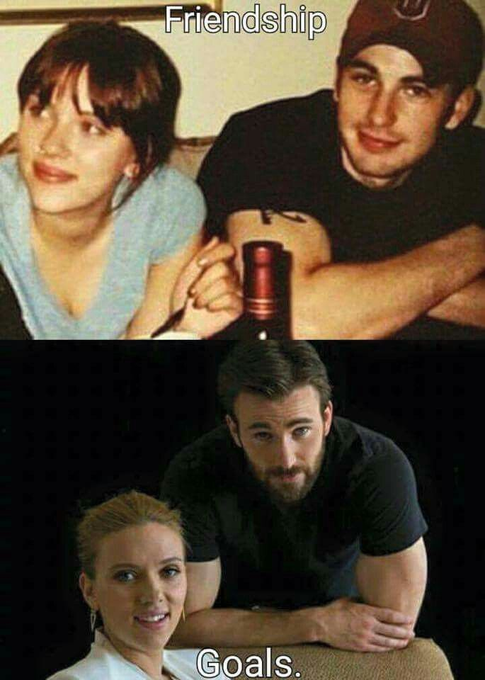 Friendship Goals Yes My Friendship Goals Are Chris And Scarlet Lol Marvel Actors Marvel Funny Chris Evans