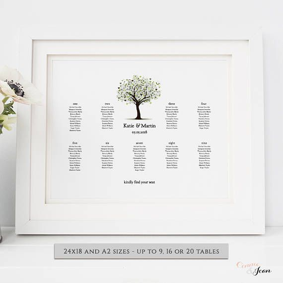 Tree of Love wedding seating plan printable template, seating - poster template for word