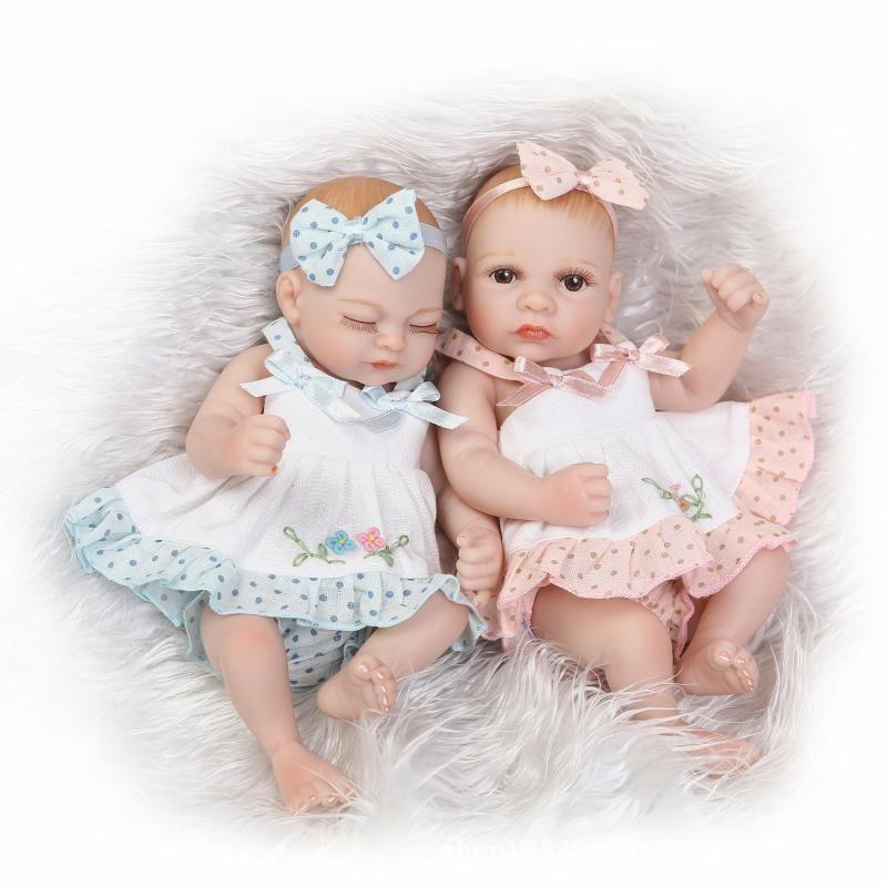 10/'/' Handmade Twins Reborn Dolls Full Vinyl Silicone Lifelike Mini Baby Dolls