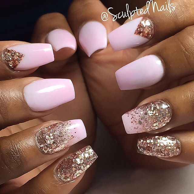 pastel pink ballerina nails with rose gold glitter rose
