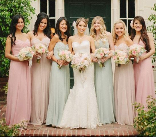 Blog For Brides How To Coordinate Mismatched Bridesmaids Dresses
