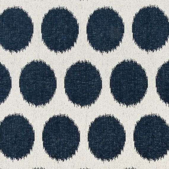 Navy Blue White Upholstery Fabric Large Scale Polka Dot Fabric For Furniture Dark Blue Geometric Chenille White Upholstery Fabric Fabric Decor Blue Fabric
