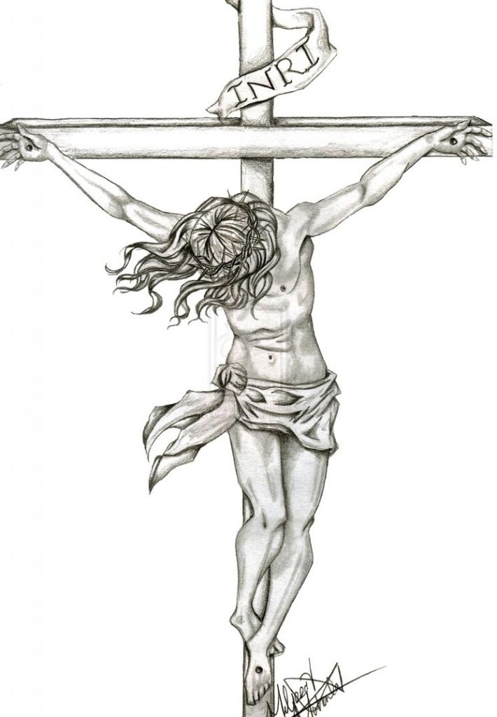 Cross Tattoo Line Drawing : Pencil drawings of jesus on the cross top crow