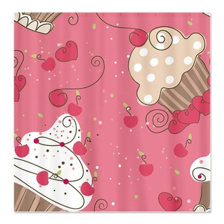 Bon Pink Cupcakes Shower Curtain By BestShowerCurtains