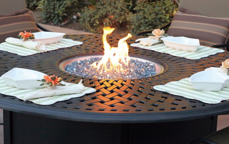 Superior Fire Pit In The Center Of The Outdoor Table