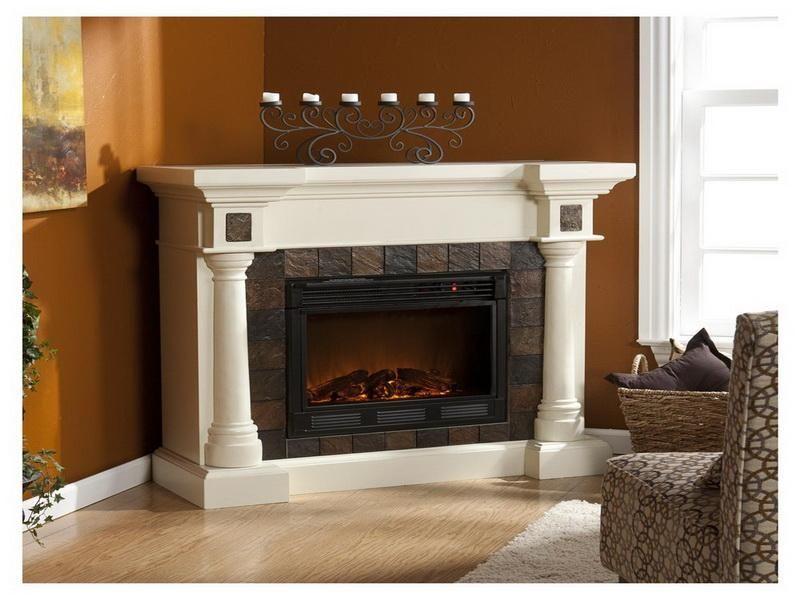 White Small Corner Fireplace Entertainment Center White