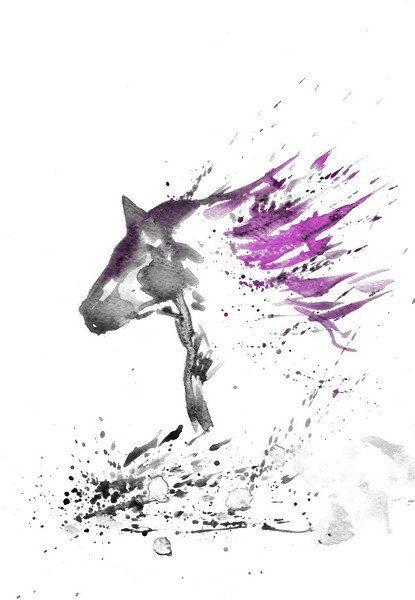 Zen En Noir Et Violet Art Aquarelle Peinture Print Original Peinture Animal Cheval Home Decor