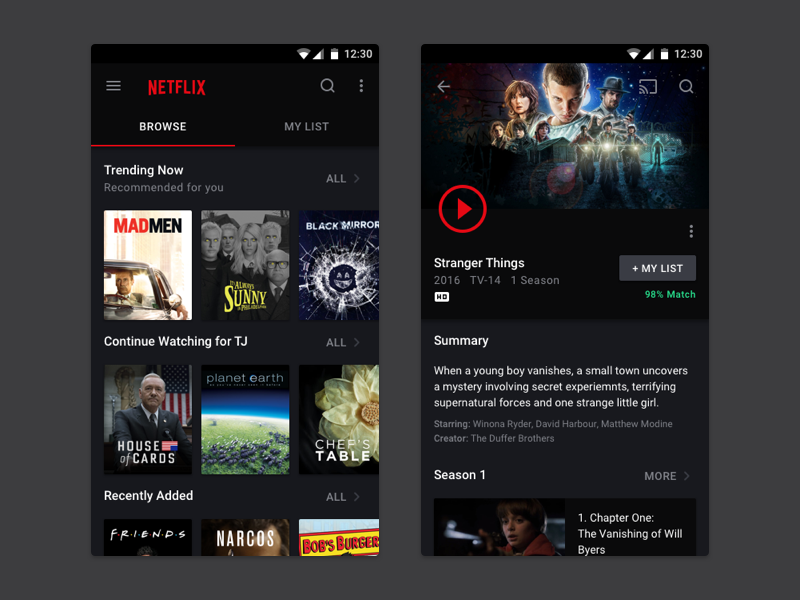 Netflix App design inspiration