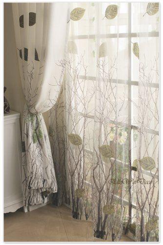 Elleweideco Modern Autumn Leaf Tree Branch Sheer Window Curtains