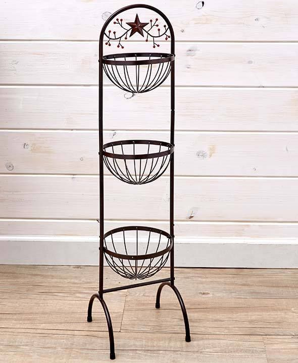 3 Tier Vegetable Basket Organizer 3 Bins Metal Floor Stand 40 Tall Kitchen Unbranded Country Kitchen Designs Country Style Kitchen Kitchen Collection
