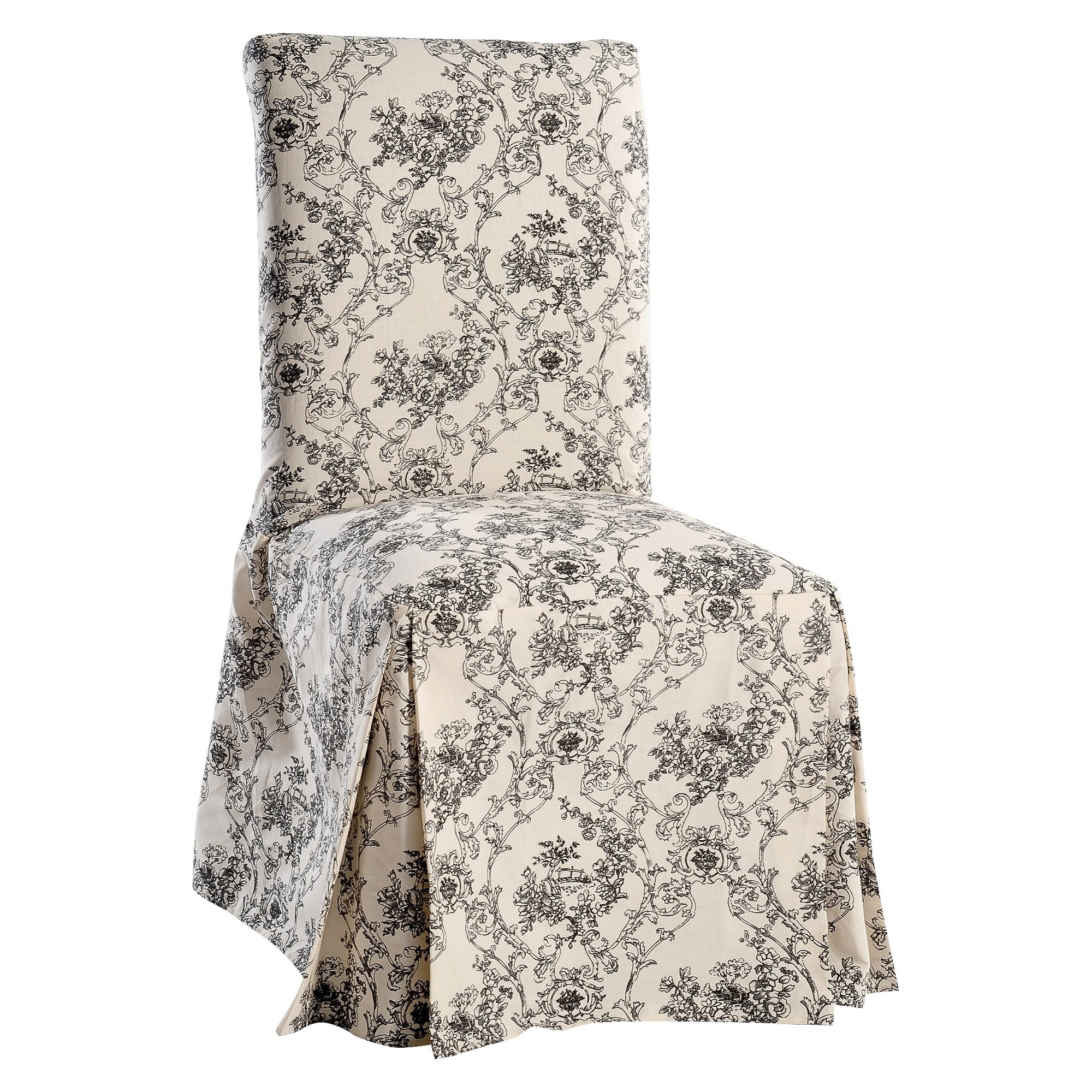 Black/Cream Toile Print Dining Room Chair Sofa Slipcover