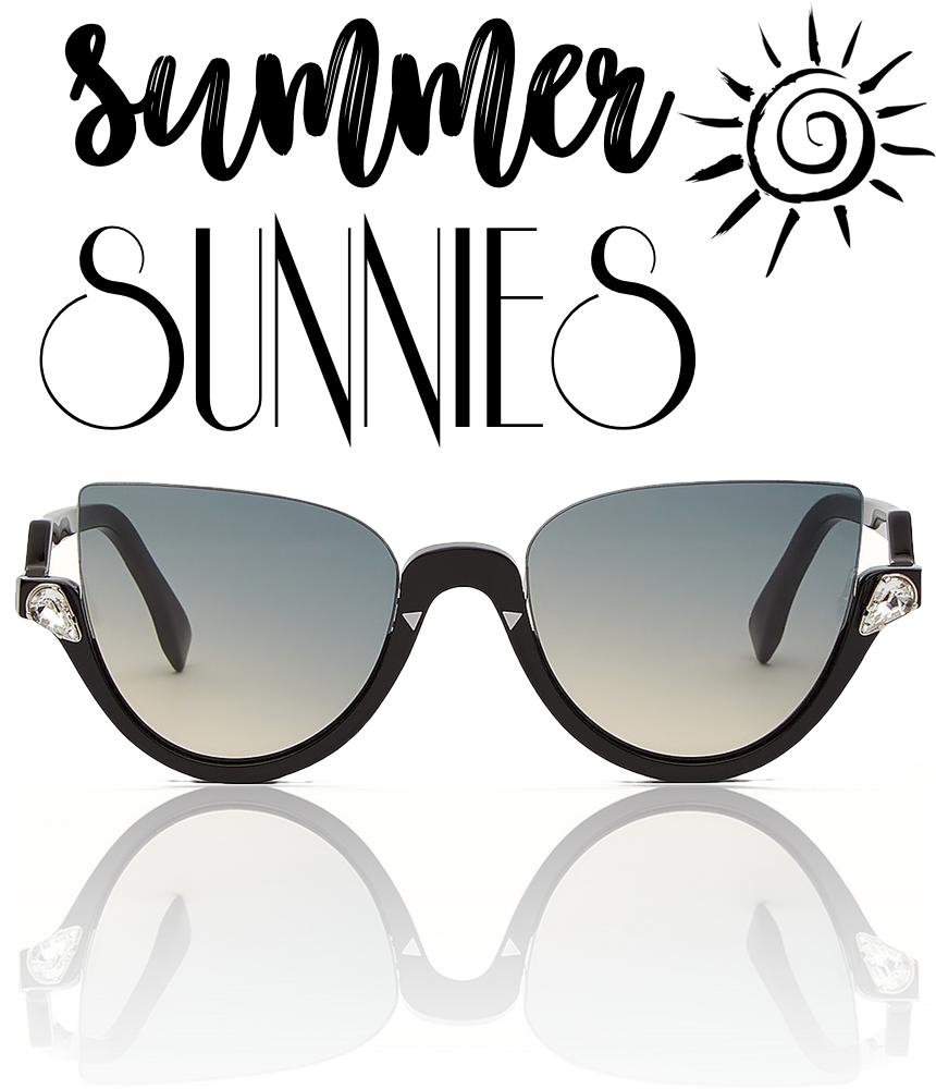 d9c4925c74 Fendi Blink Half-Rim Crystal Cat-Eye Sunglasses