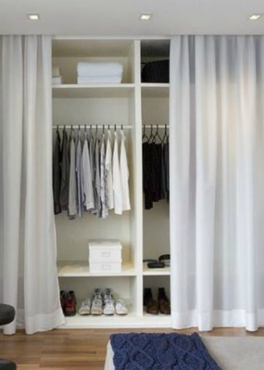 Closet With Curtains Instead Of Doors Gordijn Kast