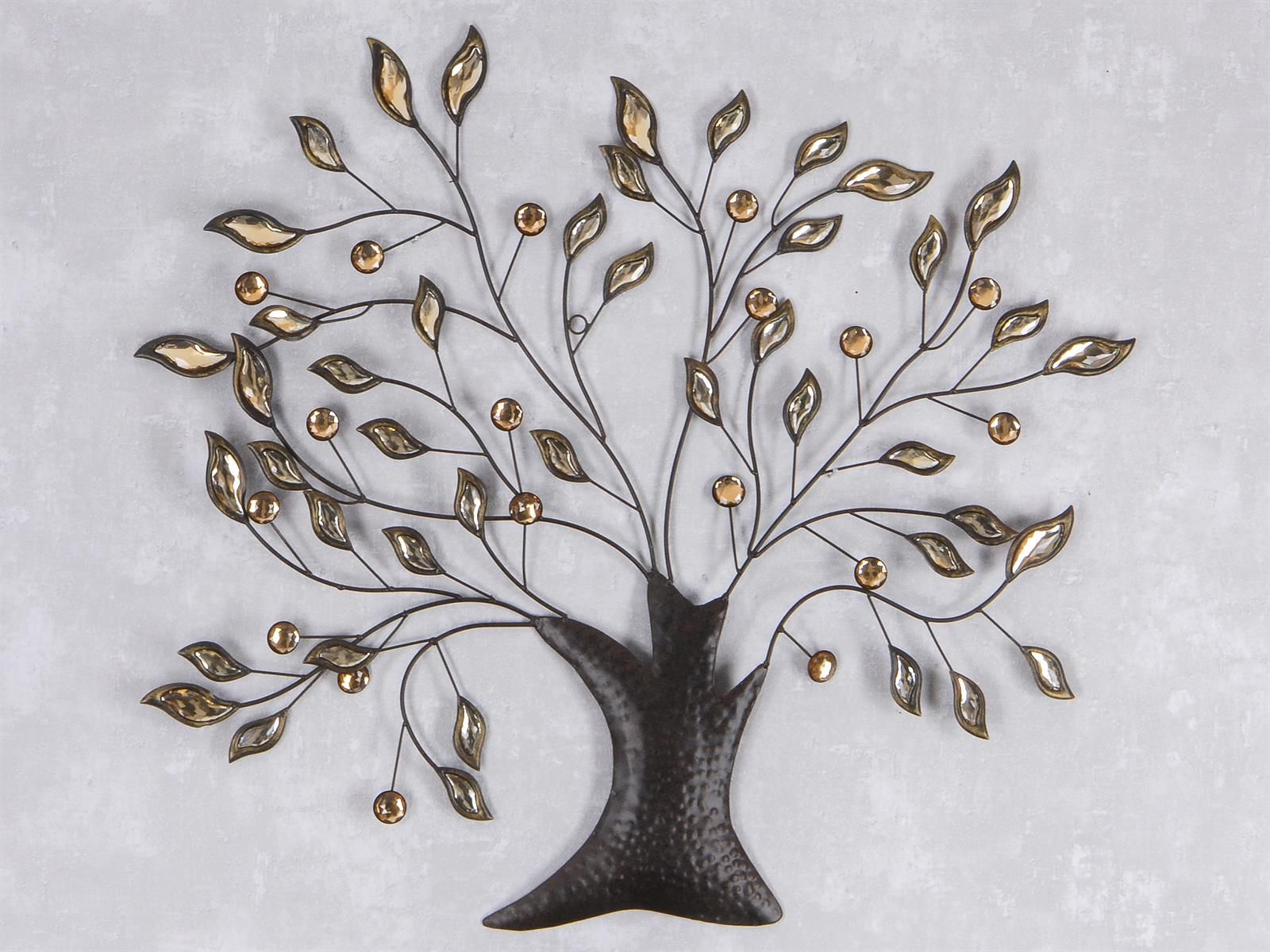 WAND DEKO Baum   Blätter Amber Aus Metall Breite 80cm Höhe 72cm    Dunkelbraun