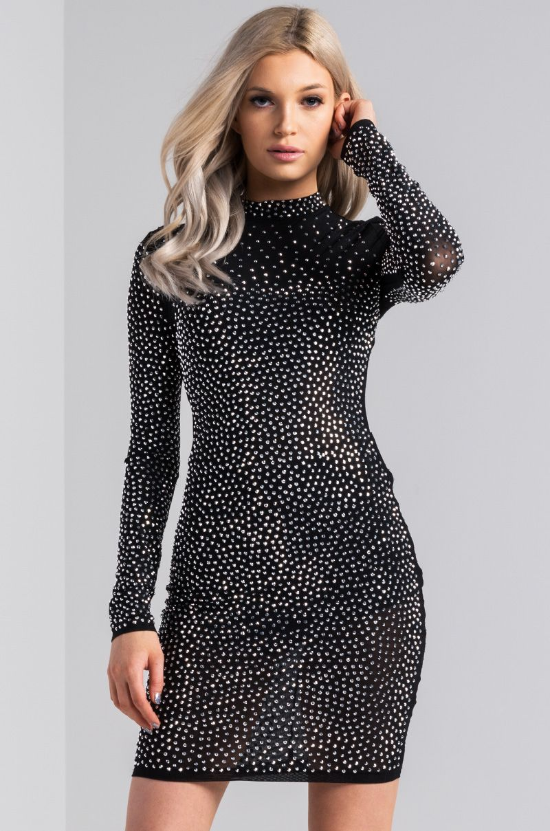 6407cb06ae1 AKIRA Mock Neck Long Sleeve Zip Up Bodycon Studded Mini Dress in Black Black