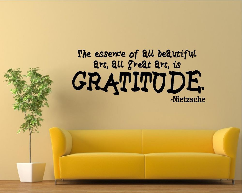Vinyl Wall Decal Art Saying Quote Decor Essence of Art is Gratitude ...