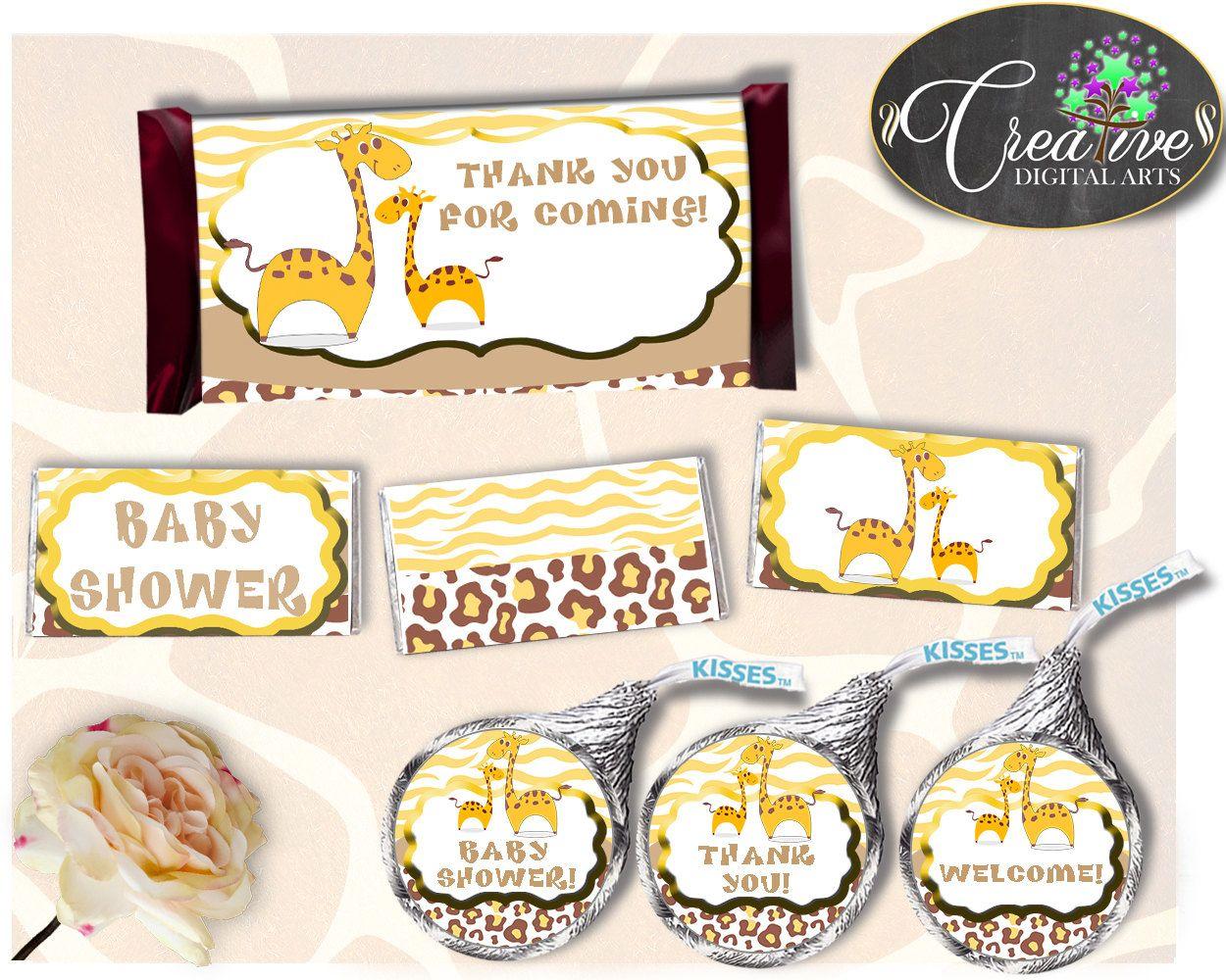 Giraffe Hershey Candy Bar Wrapper Printable Pink Yellow