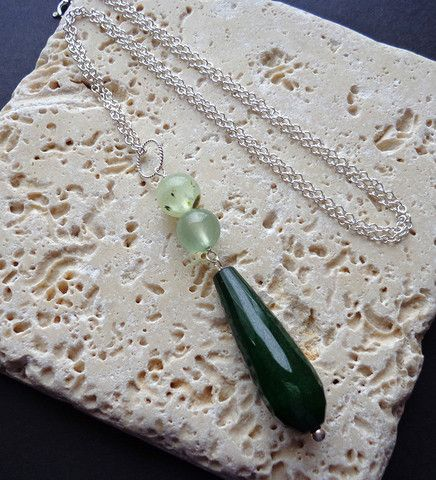 Tulip Necklace in Prehnite and Dark Green Jade by Bohemian Butterfly