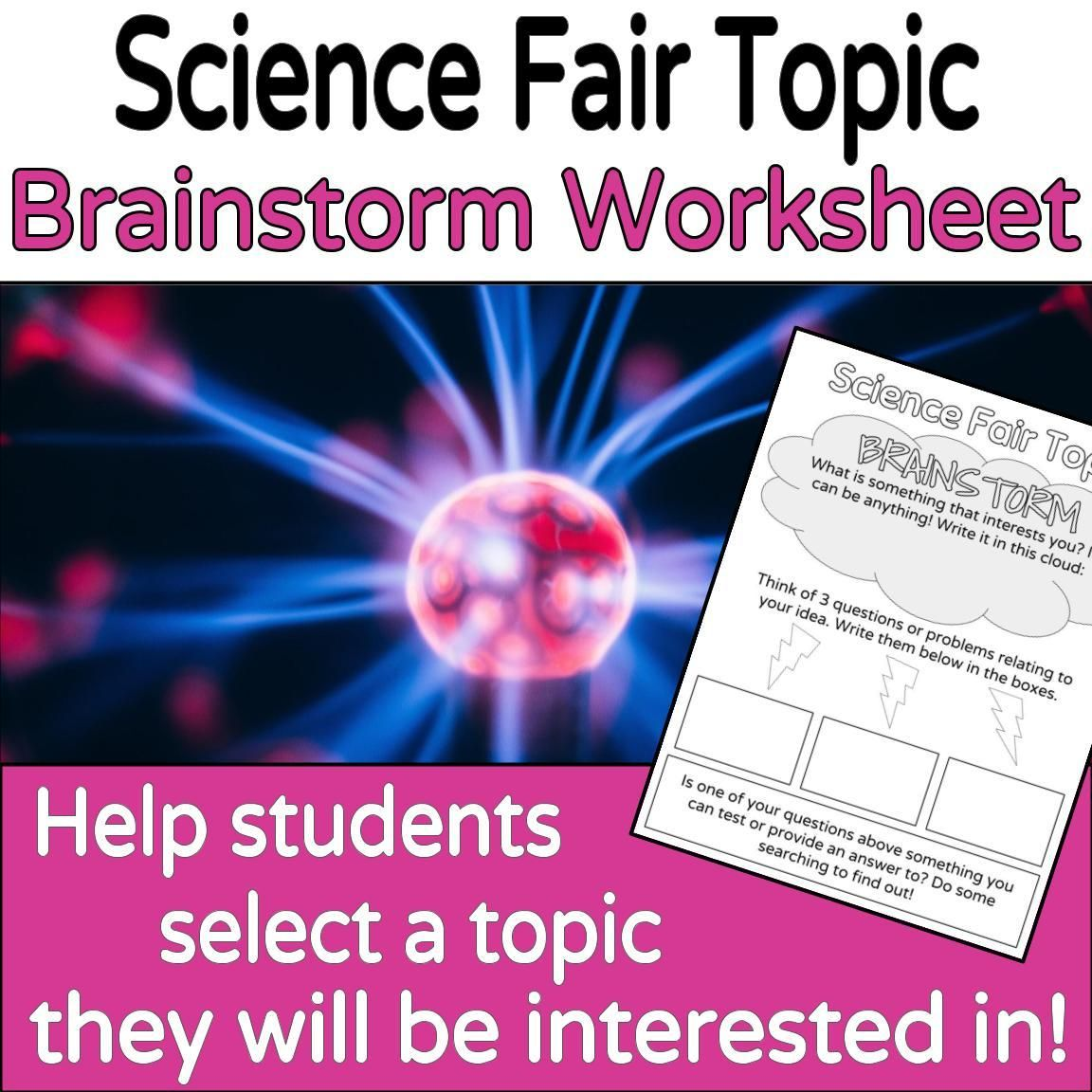 Science Fair Topic Brainstorming Worksheet Printable Or
