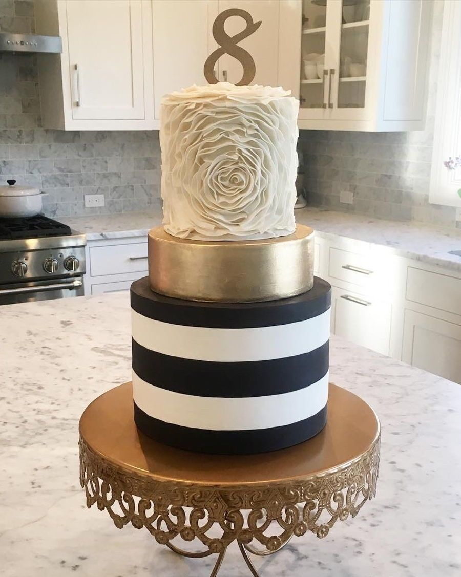 Ruffled Rosette Gold Black And White Striped Cake Striped Cake Black And Gold Cake Chocolate Wedding Cake