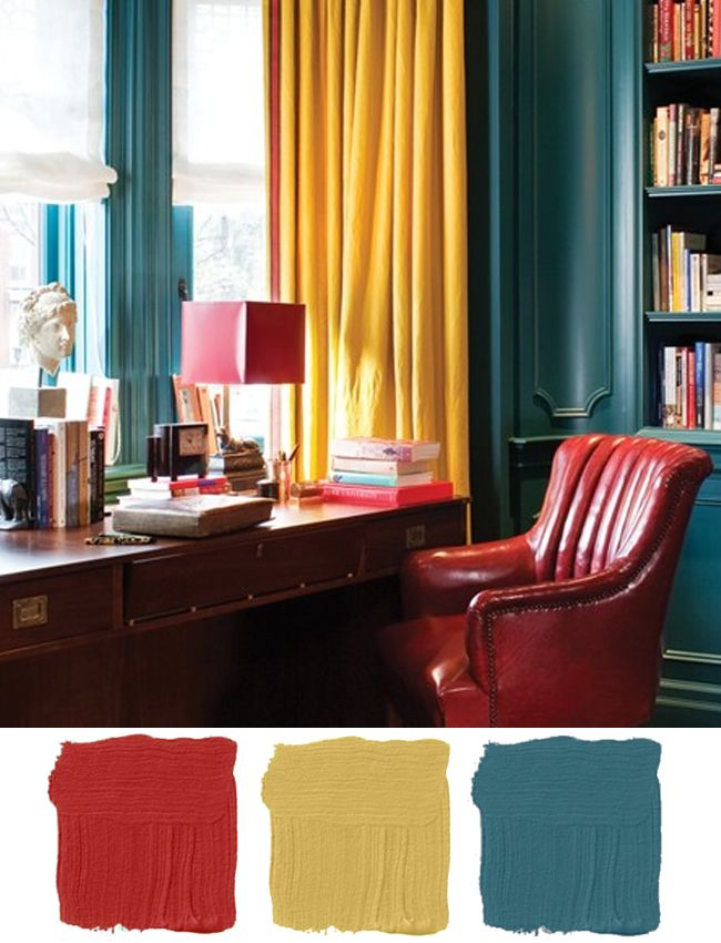 Saturated Colors Pea Walls Canary Yellow Draperies Red Leather Chair And Lampshade Photo By Ted Yarwood Design Casey Studio