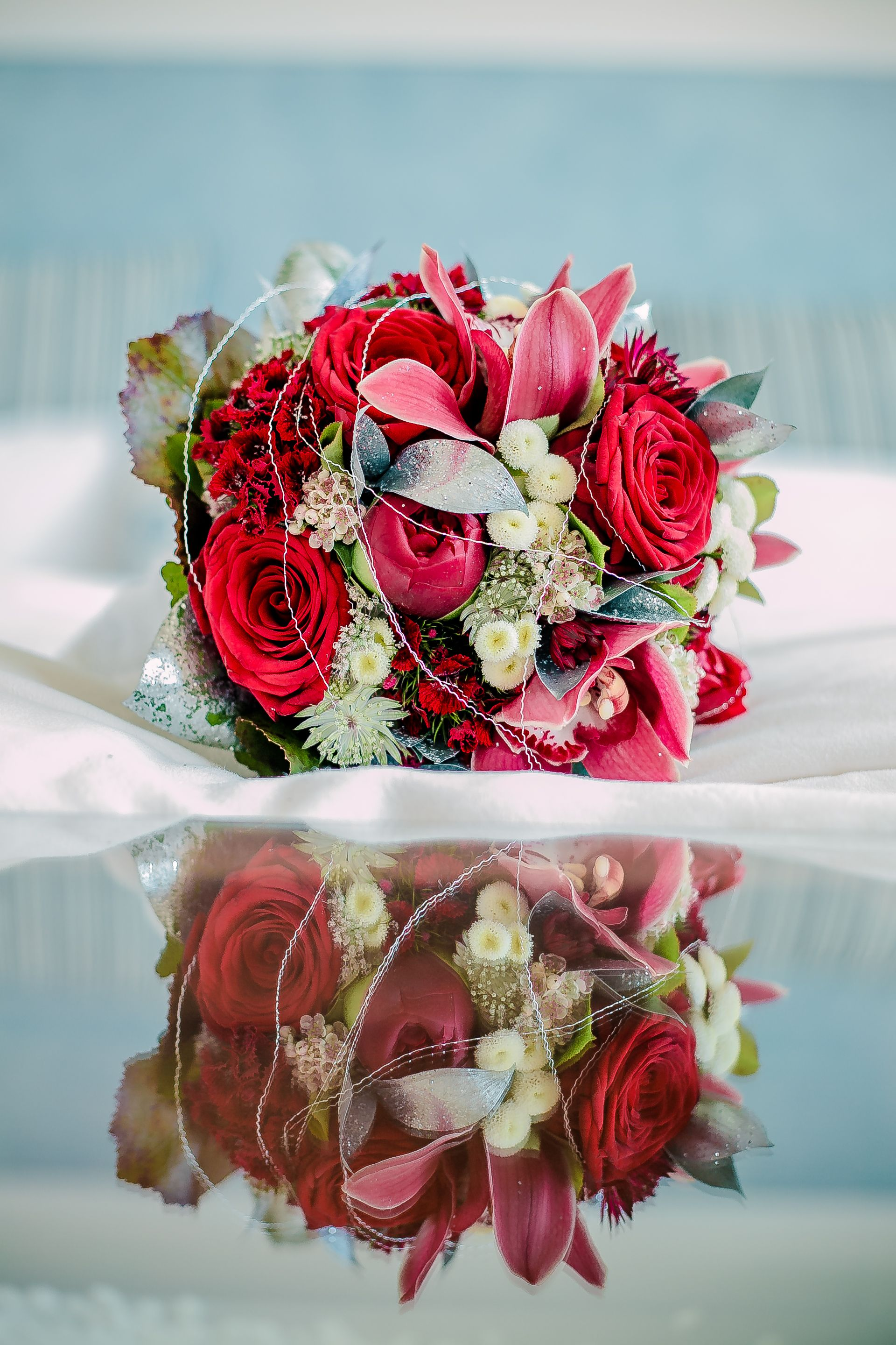 Brautstrauss Rot Silber Red Silver Weddingbouquet Foto Susi