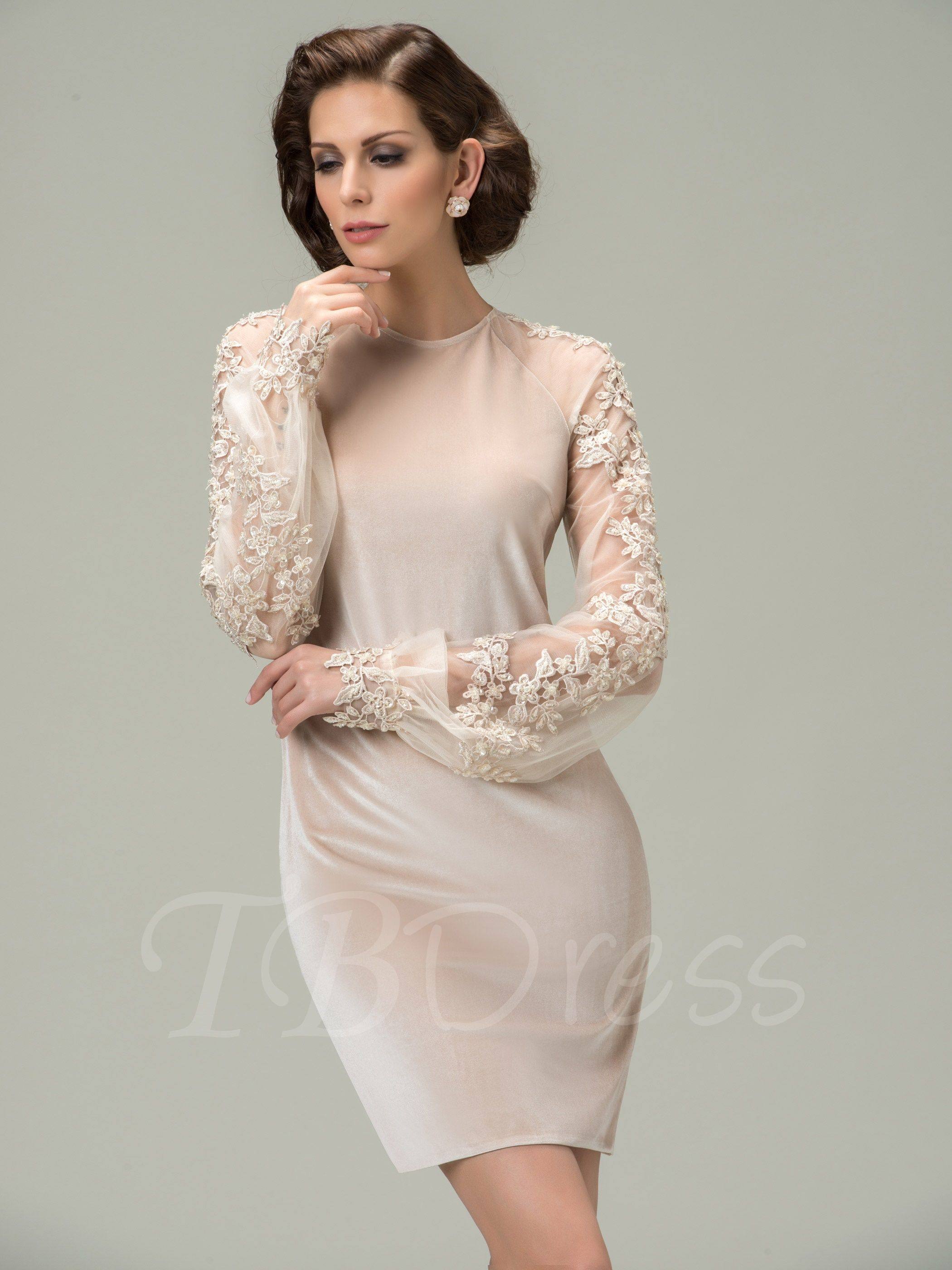 Beach wedding mother of bride dresses  Jewel Appliques Long Sleeves Short Mother of the Bride Dress  Bride