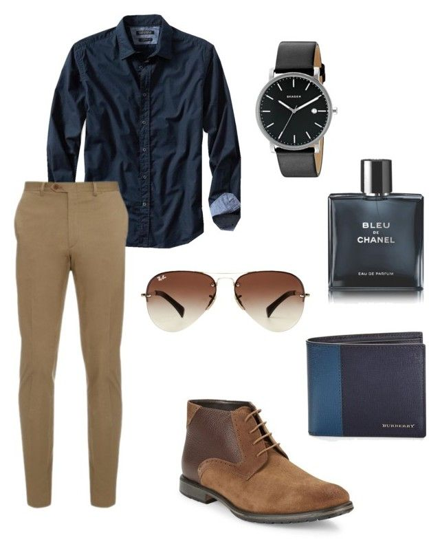 Men Wear by anjelicadeweese on Polyvore featuring polyvore, Banana Republic, Brioni, BLACK BROWN 1826, Skagen, Ray-Ban, Burberry, Chanel, men's fashion, menswear and clothing