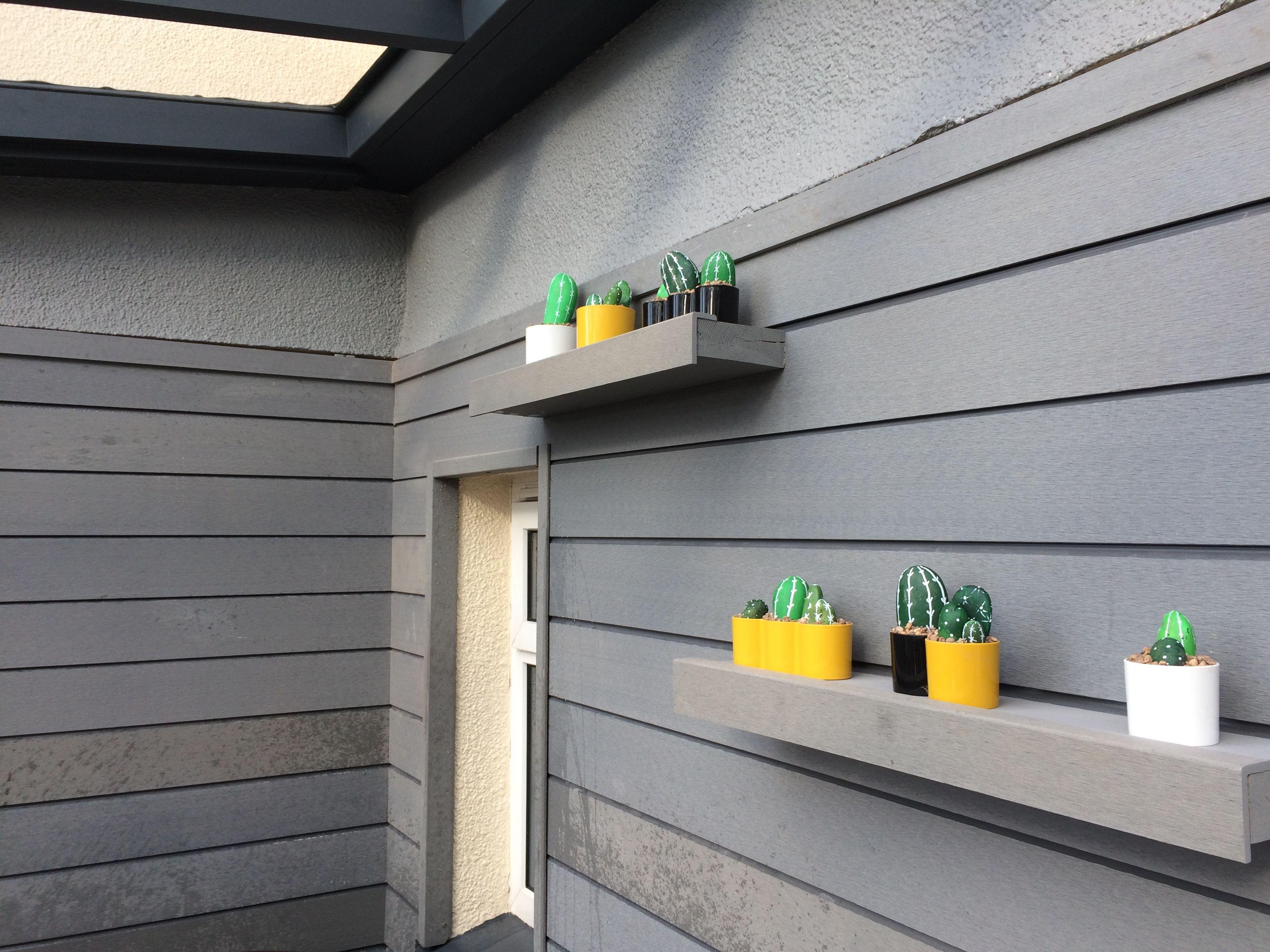 SAMPLE OF Low Maintenance Exterior Garden Composite Cladding in TEAK