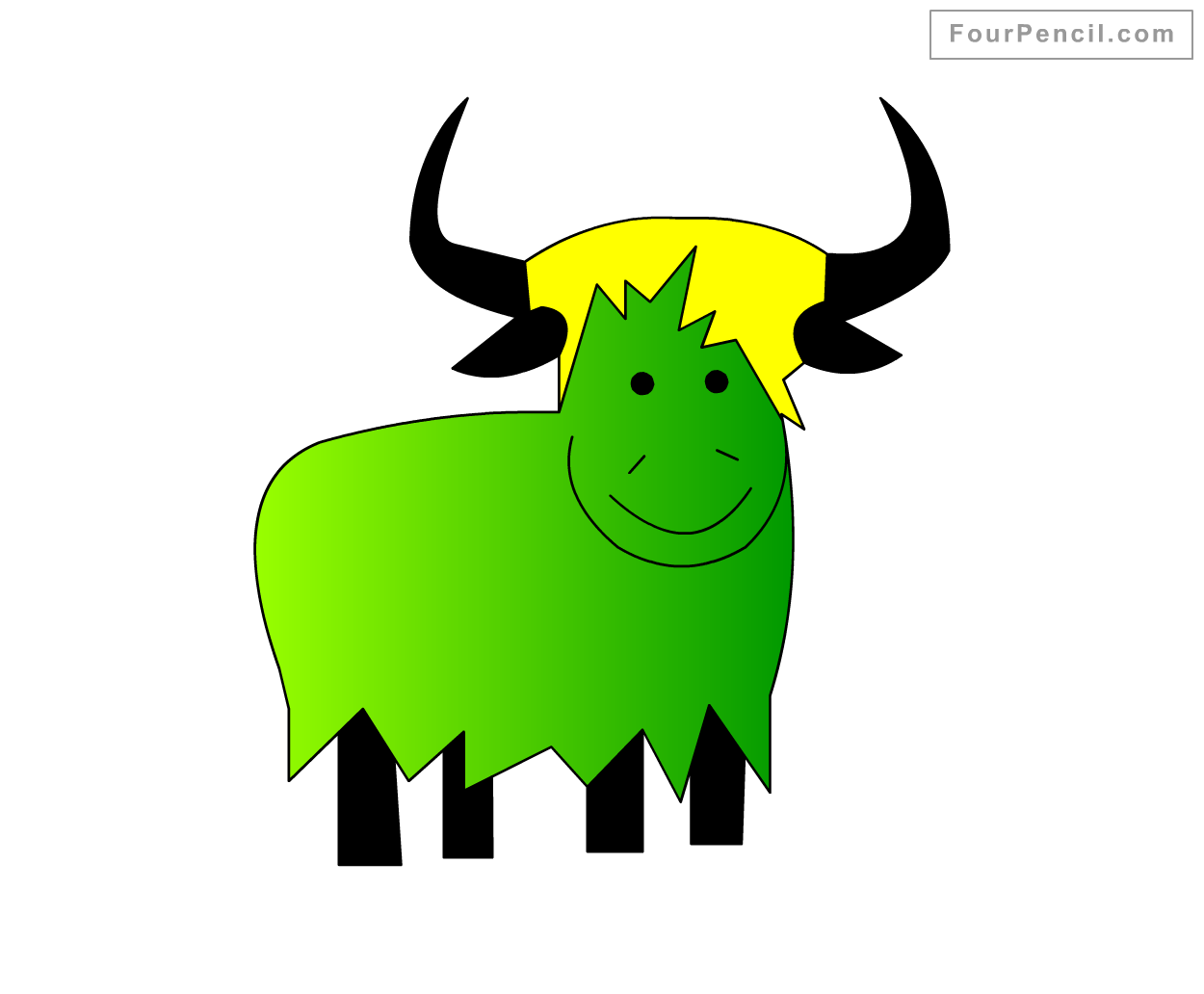 How To Draw Yak For Kids Step By Step Drawing Tutorial Draw Yak For