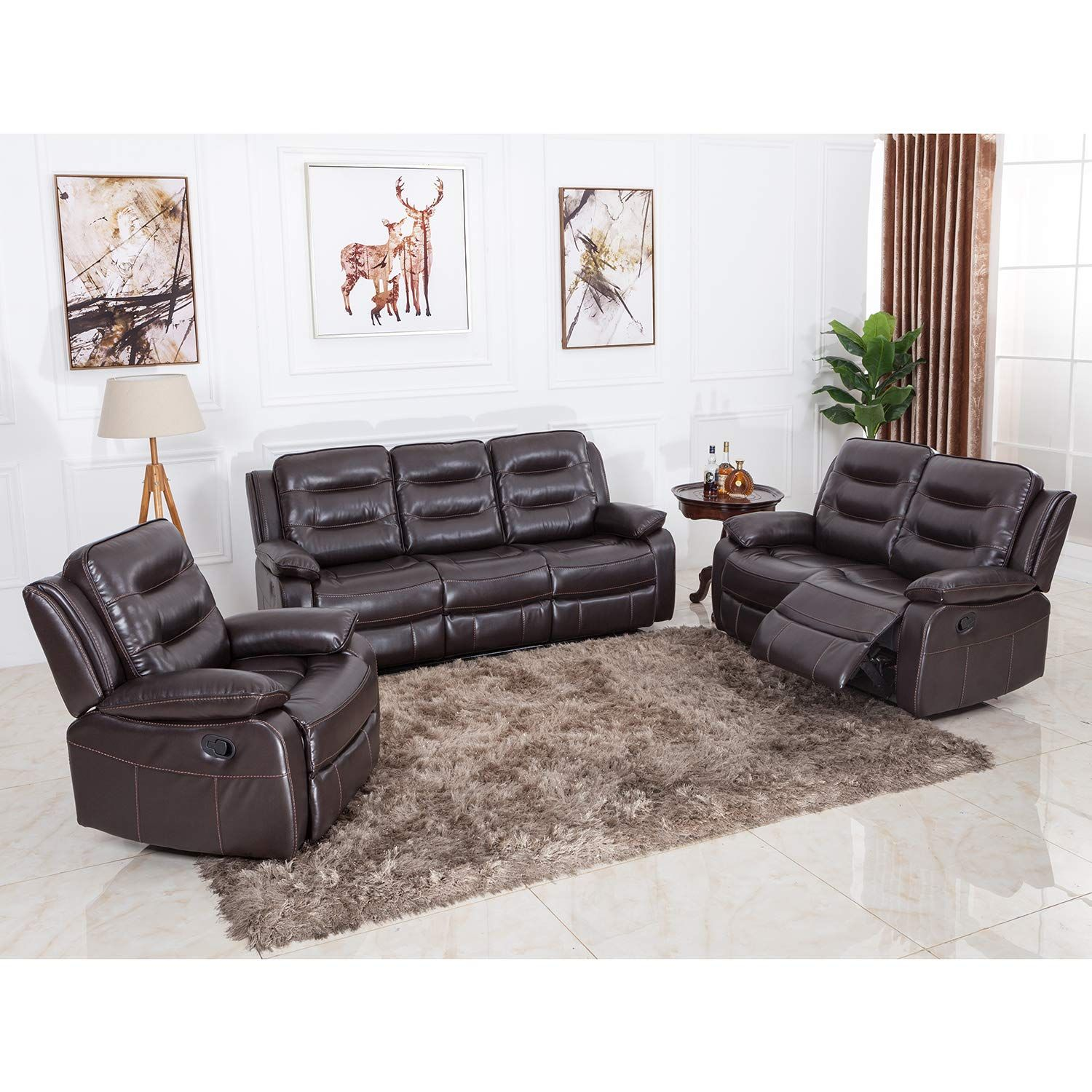 Excellent Juntoso Leather Sofa And Reclining Stretch Chair Loveseat Caraccident5 Cool Chair Designs And Ideas Caraccident5Info