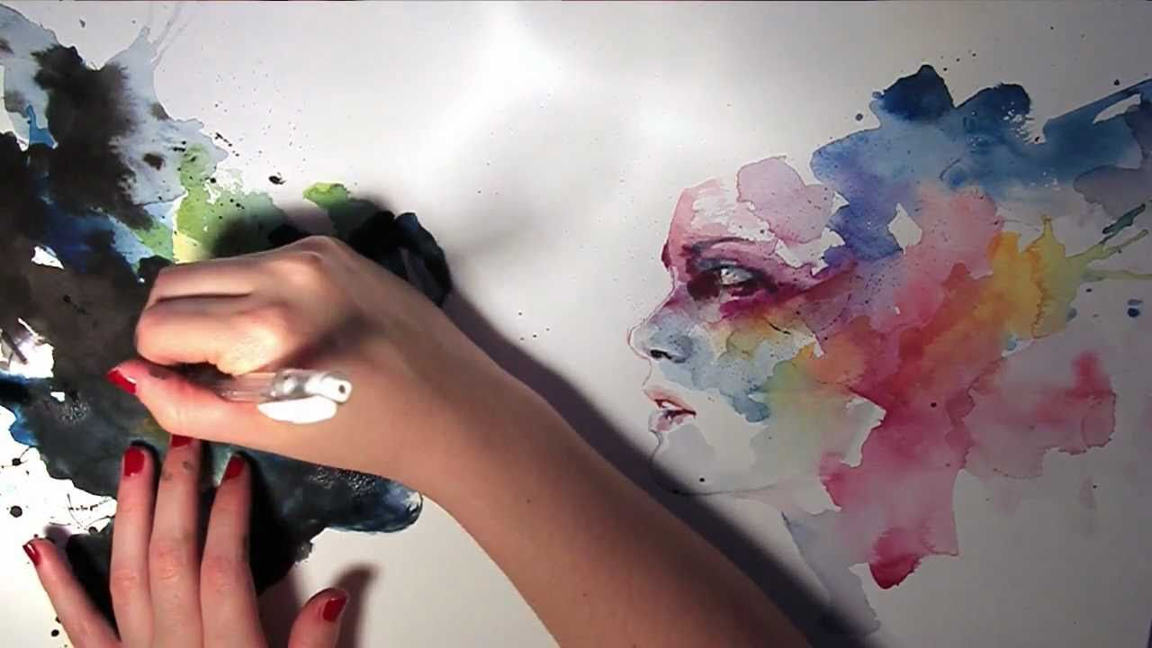 Really cool loose watercolor faces with a variety of colors.