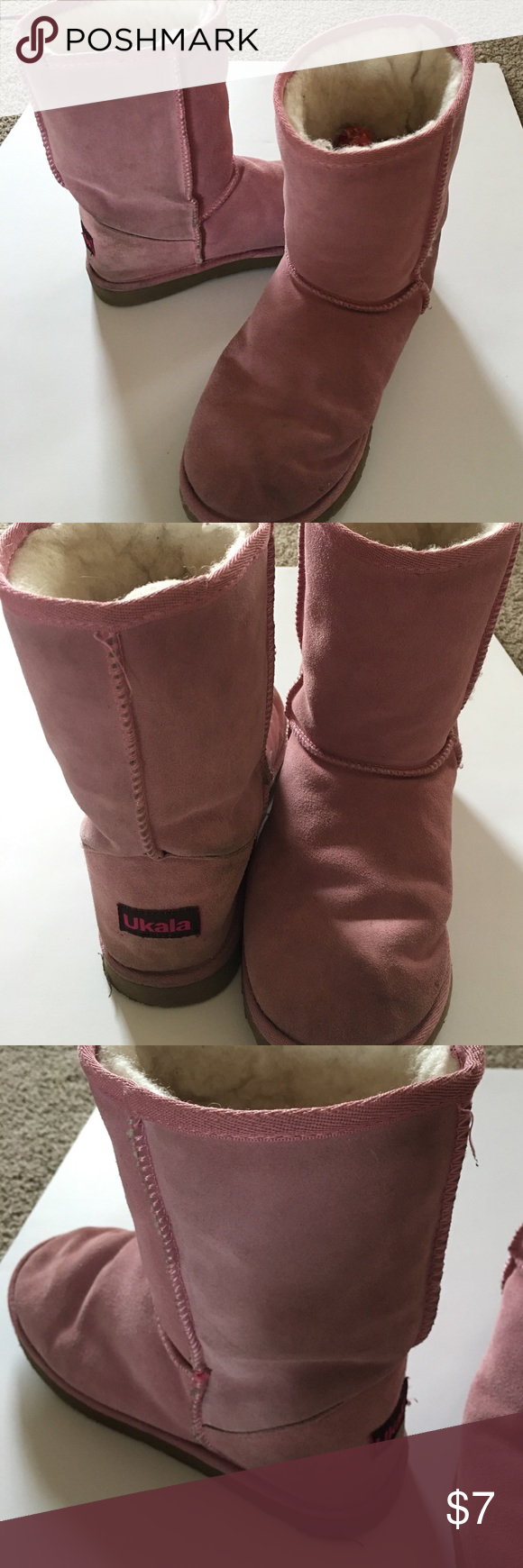 Ukala Pink Boots Pretty in Pink Boots!  They are a little dirty and pre-loved by me but have lots of life left in them! Ukala Shoes Winter & Rain Boots