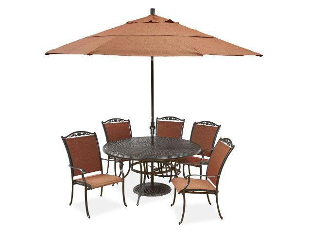 Bellagio Sling 5 Pc Dining Set With 60 Round Cast Top Table Aluminium Outdoor Furniture Aluminum Patio Furniture Aluminum Patio