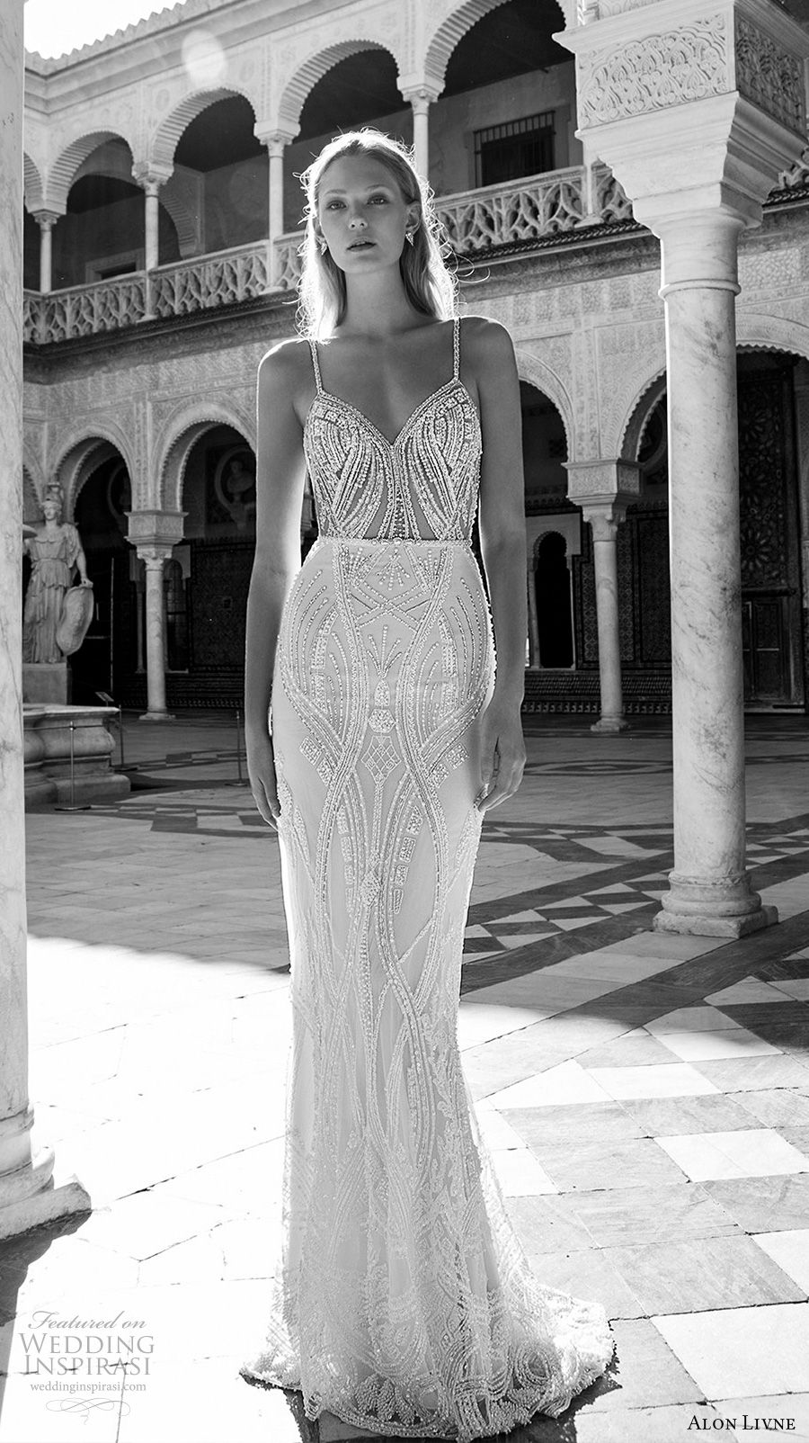 alon livne 2017 bridal sleeveless spagetti strap sweetheart neckline full embellishment elegant glamorous sheath wedding dress low back sweep train (kate) mv