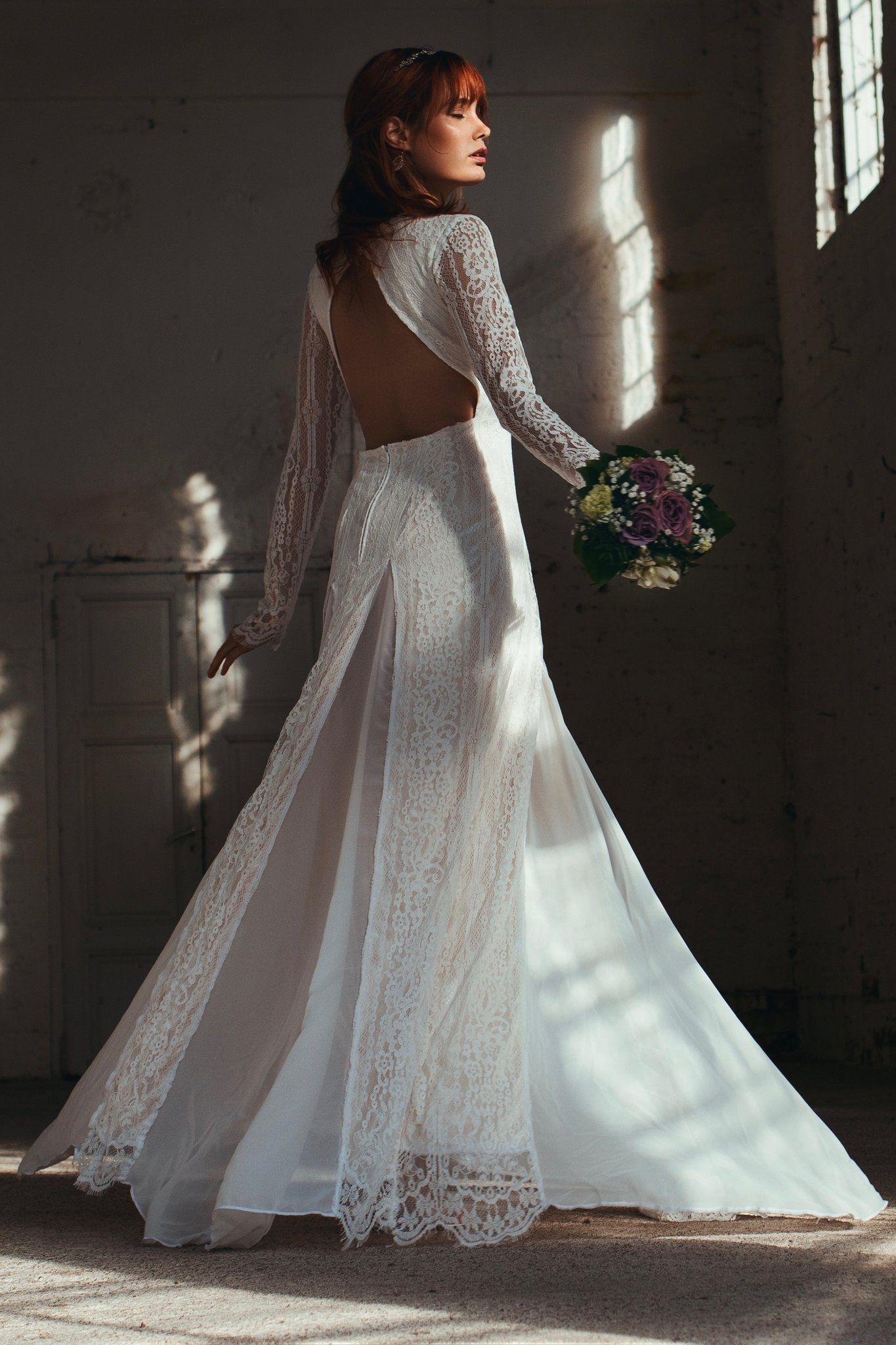 Boho wedding dress with sleeves  Bohemian wedding dress boho beach wedding dress from