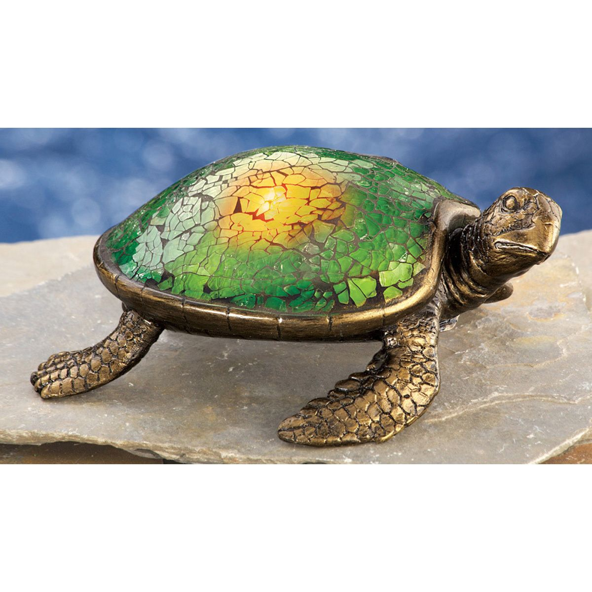 Solar Garden Sea Turtle With Amber Led Light Gl Mosaic Shell