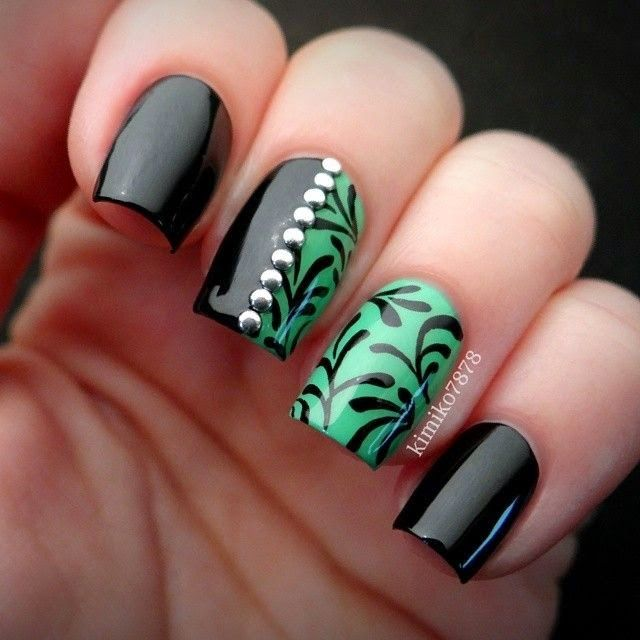 Love the half nail design. Nice green and black combination. - Nailart Beautiful⭐️nails(Fashion) Pinterest Nail Nail