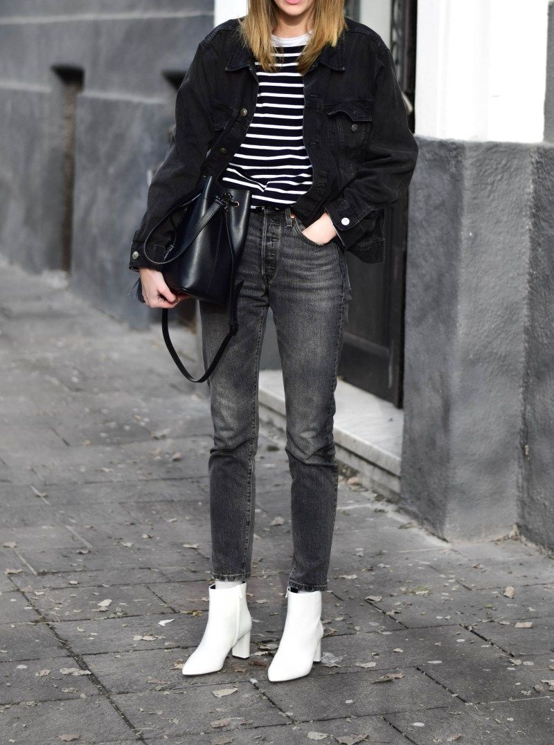 White boots outfit, Black